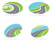 Set icons of the road, highway — Stock Vector