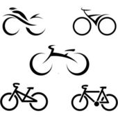 Set of icons with stylized bikes, vector illustration — Stock Vector