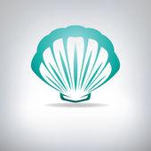 Scallop seashell. Vector. — Stock Vector
