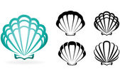 Shell collection - vector silhouette illustration — Stock Vector