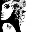 Silhouette of a woman with flowers and butterflies, vector illustration — Stok Vektör