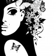 Silhouette of a woman with flowers and butterflies, vector illustration — Imagen vectorial