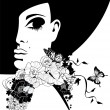 Silhouette of a woman in a black hat with flowers and butterflies, vector illustration — Stock Vector #27279541