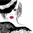 Stock Vector: Girl with in a lace hat, fashion illustration