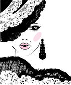 Girl with in a lace hat, fashion illustration — Stock Vector