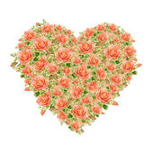 Valentines Day Heart Made of Watercolor Roses — Stock Photo