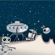 Cartoon robots on the Moon — Stock Vector