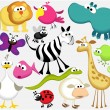 Funny cartoon animals — Stock Vector