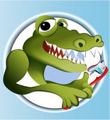 Crocodile cleaning teeth — Stock Vector