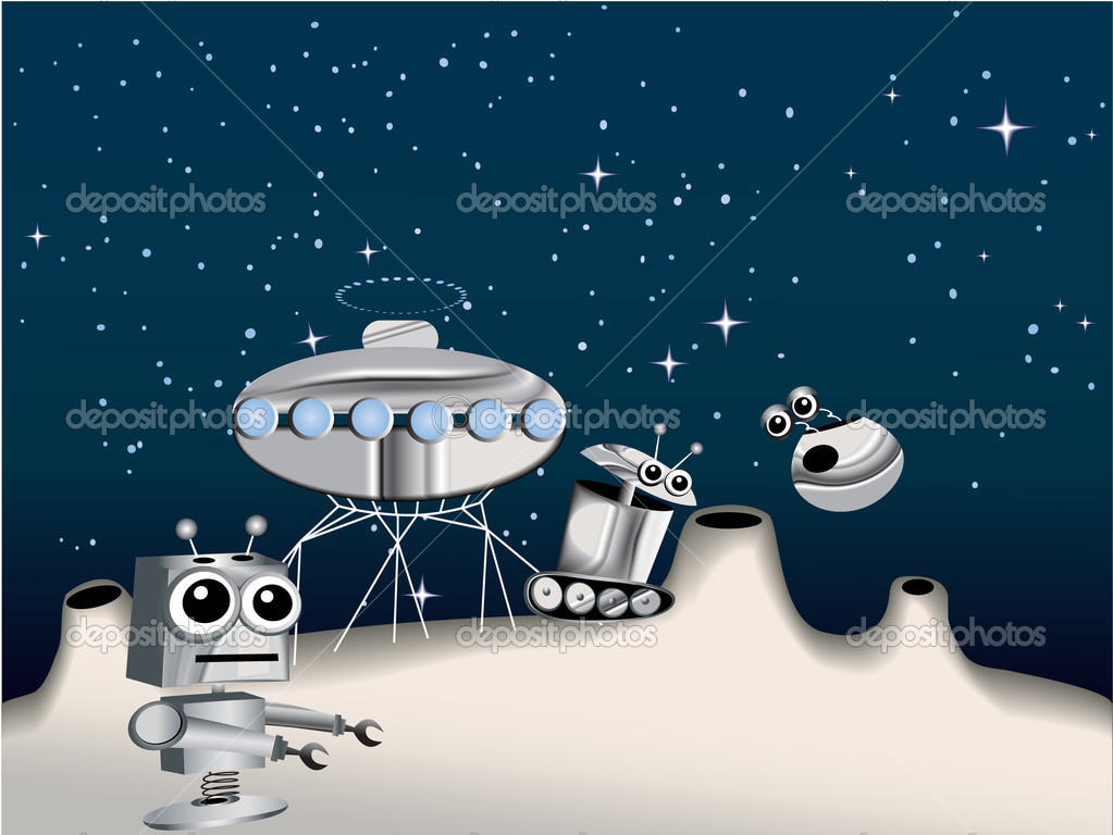Cartoon robots on the Moon  - vector illustration — Stock Vector #12652852