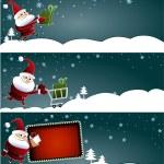 サンタ クロースとクリスマスのバナー — ストックベクタ