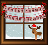 Christmas window with advent calendar — Stock Vector