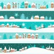 Winter banners with cartoon houses — Stock Vector