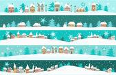Bannières d'hiver avec des maisons de dessin animé — Vecteur