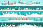 Winter banners with cartoon houses — Vetorial Stock