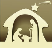 Crèche de noël avec la sainte famille — Vecteur