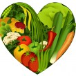 Vegetables in heart shape - diet products - Stock vektor