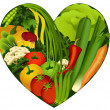 Vegetables in heart shape - diet products - Stockvectorbeeld