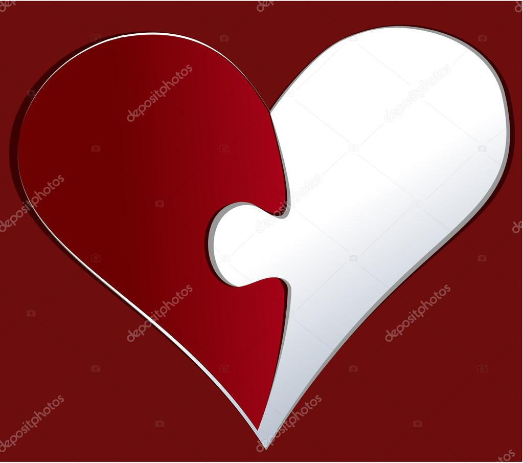 Paper heart with puzzle piece - love background  Stock Vector #19606349