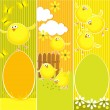 Easter banners with funny chickens — Stock Vector