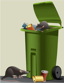 Rats in the rubbish dump — Stock Vector