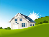 House with solar collectors — Stock Vector