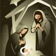 Nativity scene — Stock Vector