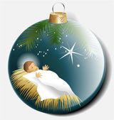 Christmas ball with baby Jesus — Stock Vector