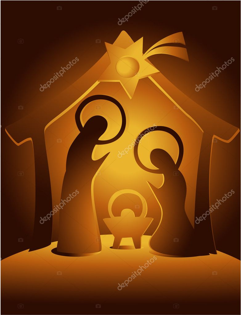 Nativity Scene Silhouette Christmas nativity scene with