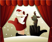 Christmas puppet show with Santa Claus — Stock Vector