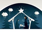 Nativity scene — Stok Vektör