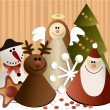 Christmas paper decorations — Imagen vectorial