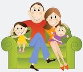 Cartoon happy family — Vecteur