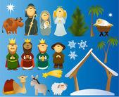 Set of Christmas scene elements — Stock Vector