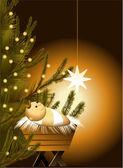 Christmas scene with baby Jesus — Stockvektor
