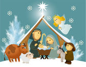 Cartoon nativity scene with holy family — Stock Vector