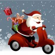 Santa Claus riding a scooter — Stock Vector #51278633