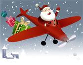 Santa Claus flying in plane — Stock Vector