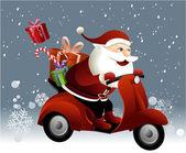 Santa Claus riding a scooter — Stock Vector