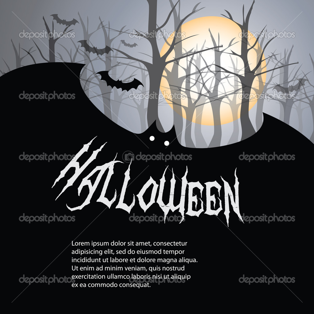 Dark Halloween Card with a Tree and Bats - Illustration in Editable Vector Format — Stock Vector #12585521