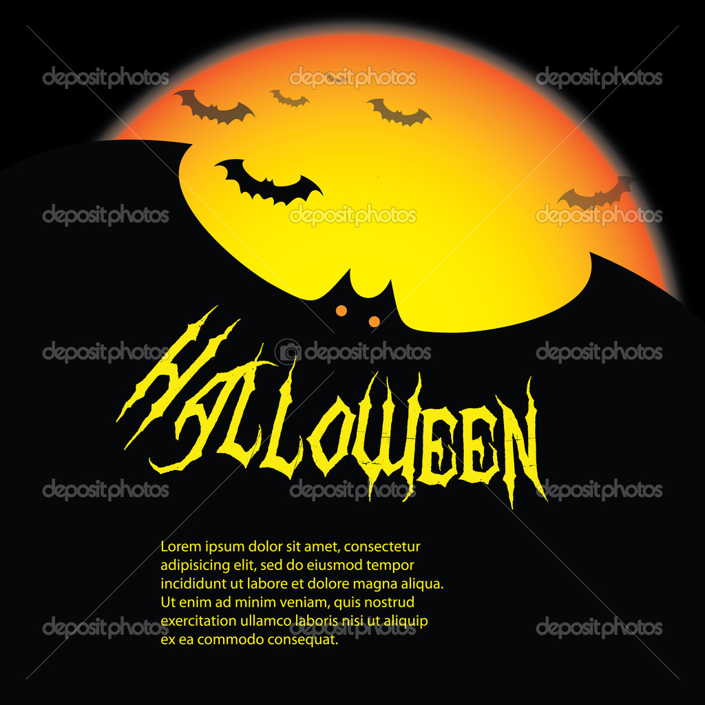 Dark Halloween Backdrop with Bats and Yellow Moon - Illustration in Editable Vector Format — Stock Vector #12585529