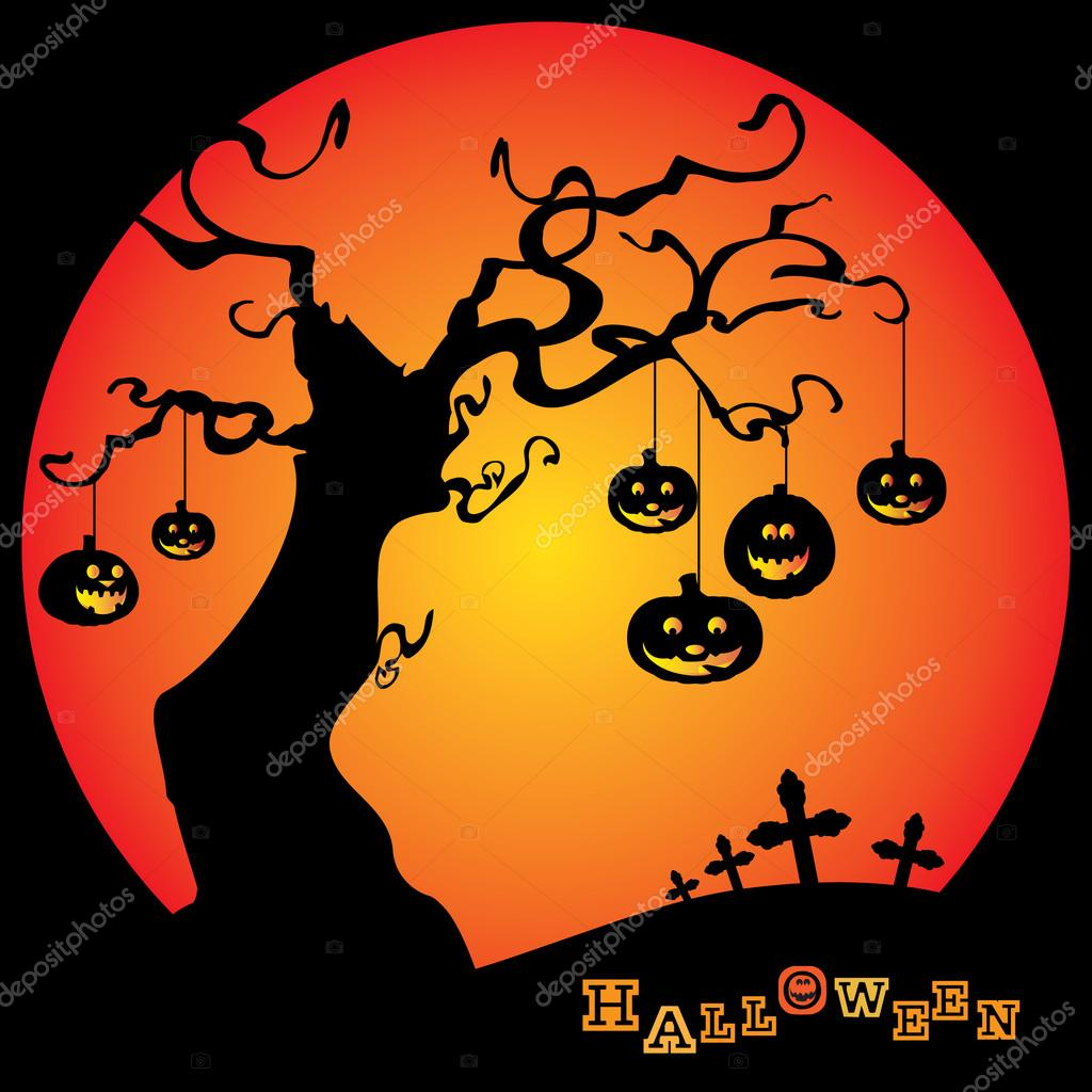 Dark Halloween Background with a Tree and Pumpkins - Illustration in Editable Vector Format — Imagen vectorial #12585540