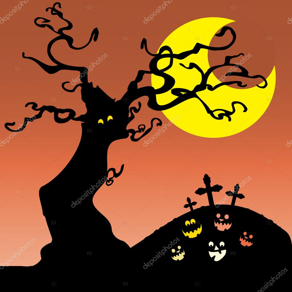 Dark Halloween Background with a Tree and Pumpkins - Illustration in Editable Vector Format — Stock Vector #12585560