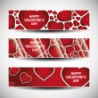 Vector set of three Valentines Day header designs — Imagens vectoriais em stock