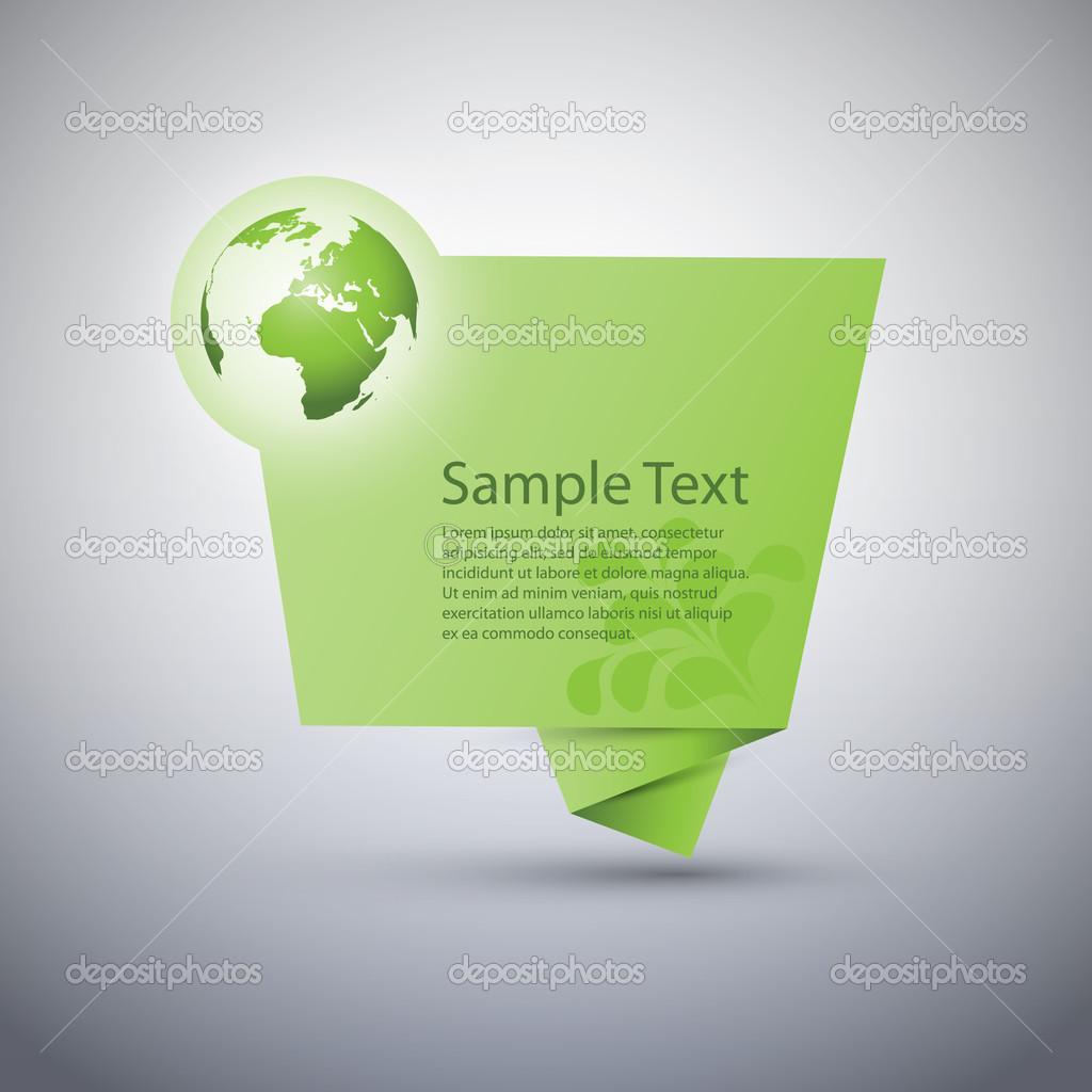Green Eco Origami Speech Bubble with Leaves - Vector Design — Stock Vector #12710935