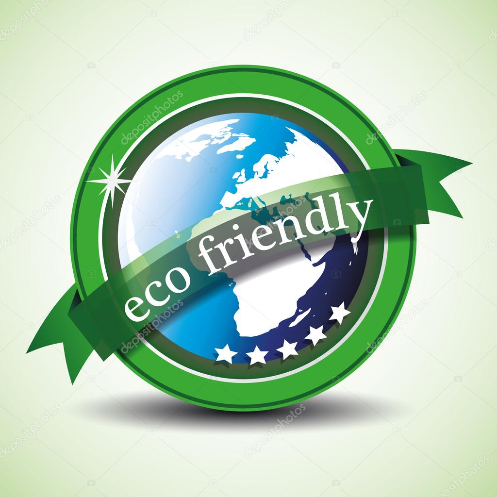 Eco friendly - Green eco label or badge concept design  - illustration in editable vector format — Stock Vector #12711008