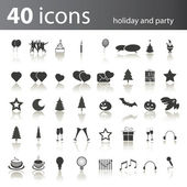 40 Holiday and Party Icons — Stock Vector