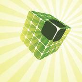 3D Cubic Puzzle Box Illustration — Stock Vector