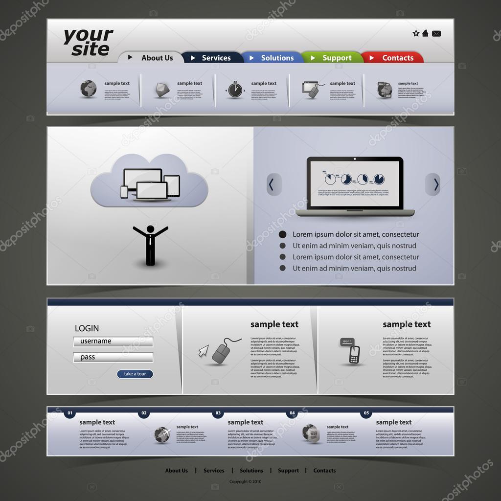 Website Template — Stock Vector © bagotaj #27090241