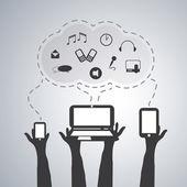 концепция облачных вычислений — Cтоковый вектор
